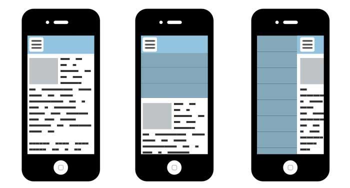 Différents types de menus sur mobiles