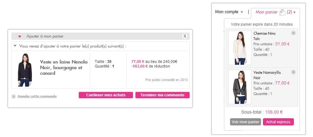 Le site showroom privé propose des commandes express et la vue du panier depuis n'importe quelle page