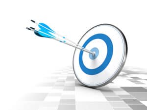 Three arrows in the center of a blue target, modern checker background. Image suitable for illustration ofstrategic business solutions or corporate strategy purpose.