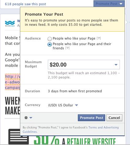 Facebook post sponsorisé