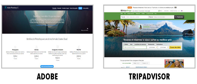 Exemple de Layout : Adobe et Tripadvisor