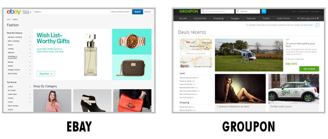 Exemple de Layout : Ebay et Groupon