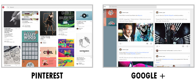 Exemple de layout : Pinterest et Google +