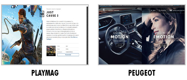 Exemple de layout : Playmag et Peugeot