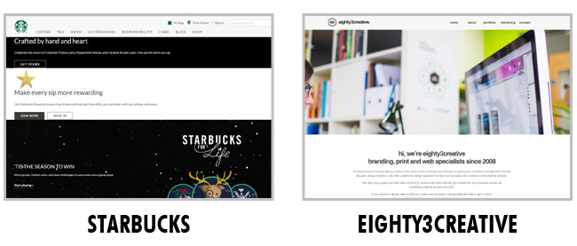 Exemple de Layout : Starbucks et Eighty3creative