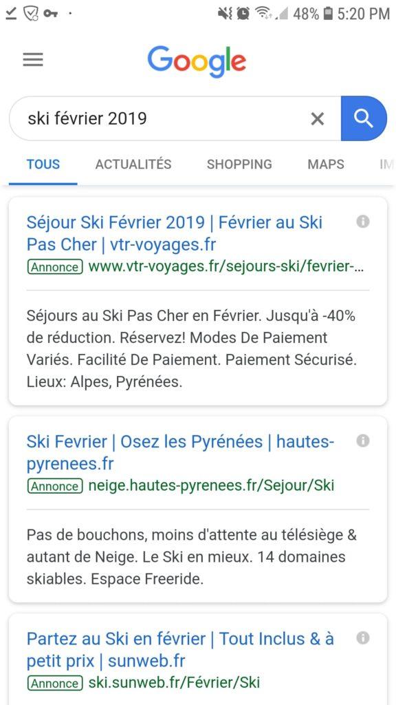 publicité Google mobile